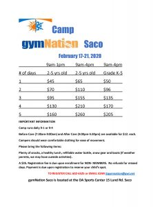 February Camp Saco @ gymNation Saco